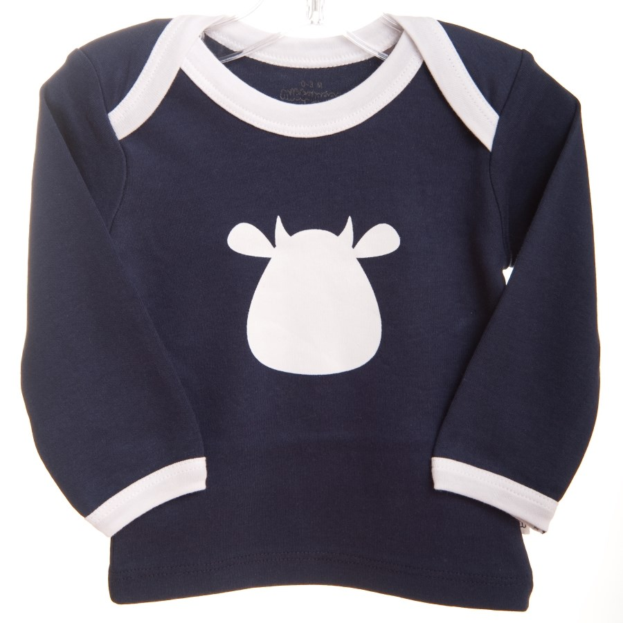 Navy Long Sleeve T-Shirt - White Cow Applique