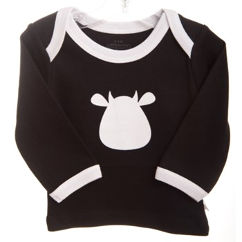 Black Long Sleeve T-Shirt - White Cow Applique