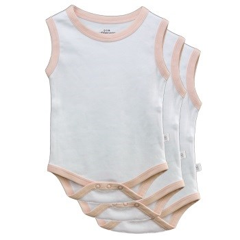 White & Pink Sleeveless Bodysuits