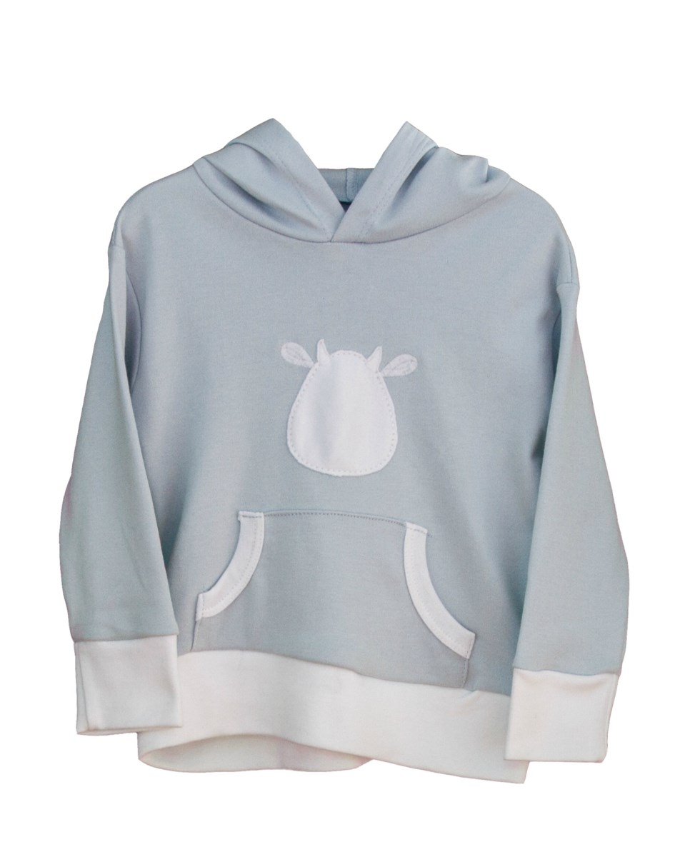 Blue Long Sleeve Hoodie - White Cow Applique