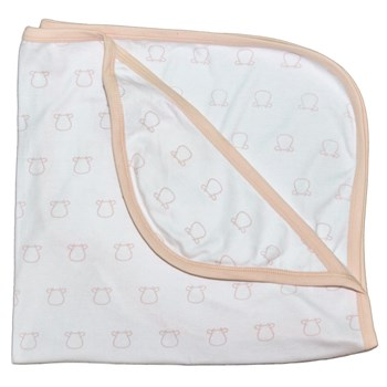 White Single Layer Blankets - Pink Outline Cow