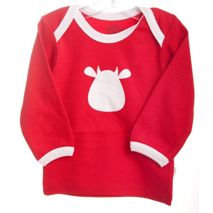 Red Long Sleeve T-Shirt - White Cow Applique