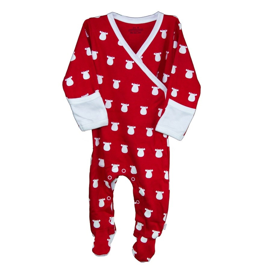 Red Kimono Footed Romper with White Solid Cow
