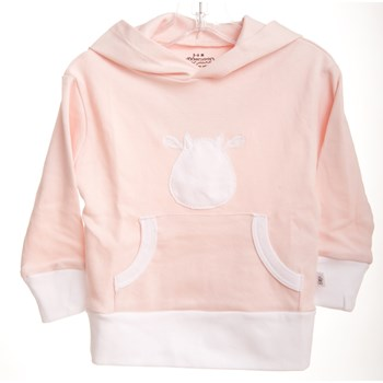 Pink Long Sleeve Hoodie - White Cow Applique