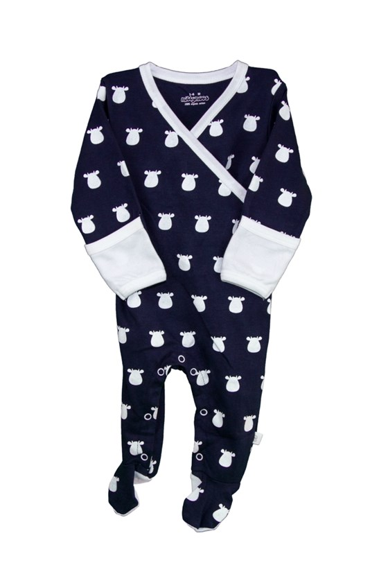Navy Kimono Footed Romper with White Solid Cow