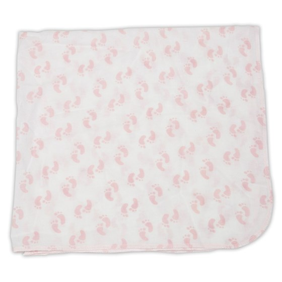 Pink Footprint Pattern Muslin Blanket