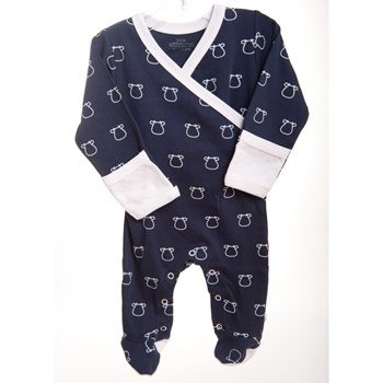 Navy Kimono Footed Romper - White Outline Cow