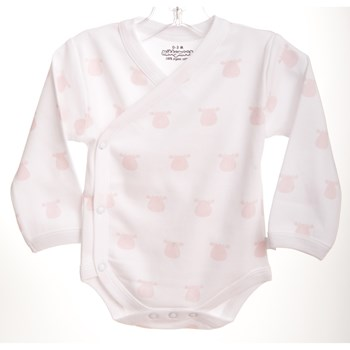 White Long Sleeve Kimono Body - Pink Solid Cow