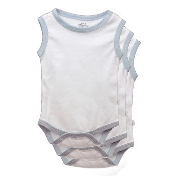 White & Blue Sleeveless Bodysuits