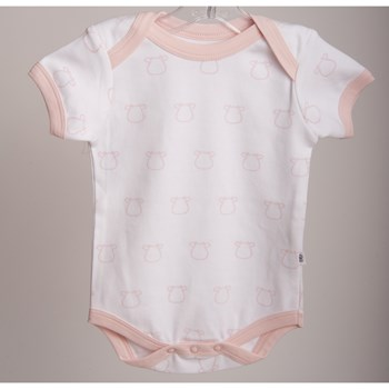 White Short Sleeve Body - Pink Outline Cow