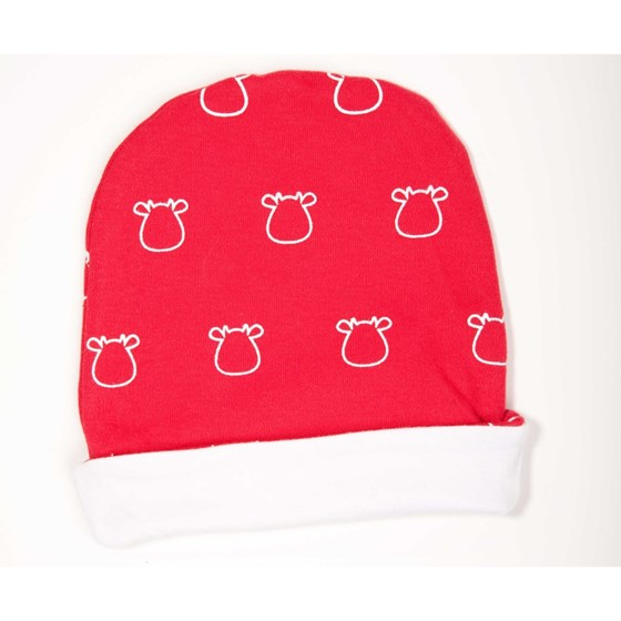 Red Hat - White Outline Cow Print