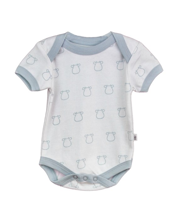 White Short Sleeve Body - Blue Outline Cow