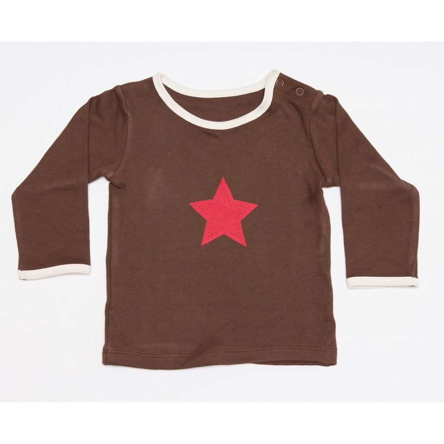 Brown Long Sleeve Printed Tee