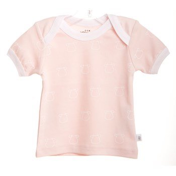 Pink Short Sleeve T-Shirt White Outline Cow