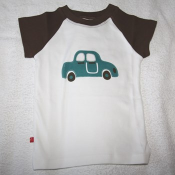 White and Brown Car Print T-Shirt