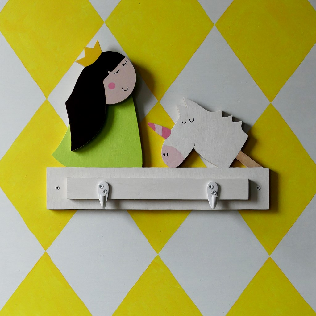 Princess and unicorn wall hooks, ideal gifts for girls bedroom.