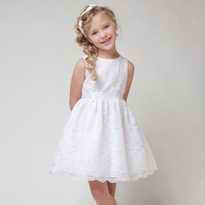 Lace white sleeveless dress for your special princess