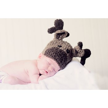 Hand Crocheted Baby Moose Hat