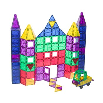 Playmags Award Winning Clear Colours Magnetic Tiles Deluxe Building Set with Car  (100-Piece)