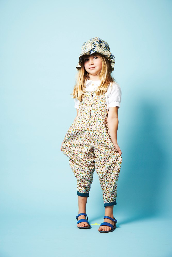 dungaree pink and mustard ditzy floral