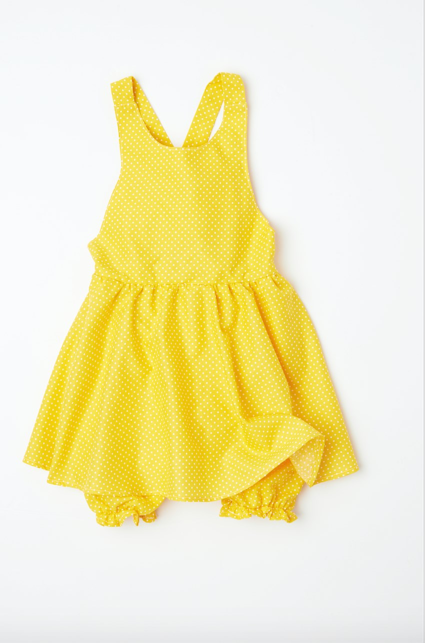 yellow polka dot onsie with internal bloomer