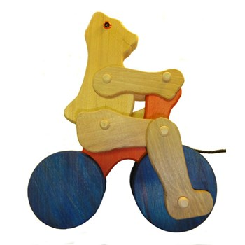 Pull-along cycling bear