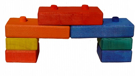 Pegged wooden blocks