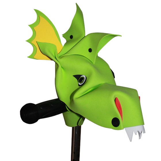 Smoulder green dragon bike and scooter accessory hobby horse