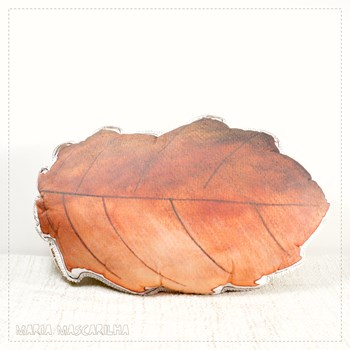 Printed Cork Oak leaf shaped pillow