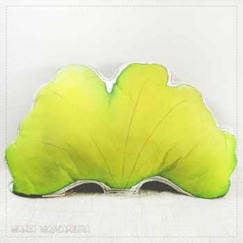 Printed Ginkgo Biloba leaf shaped pillow