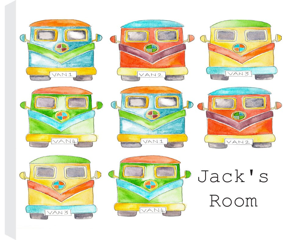 Personalised Children's Campervan Canvas Print