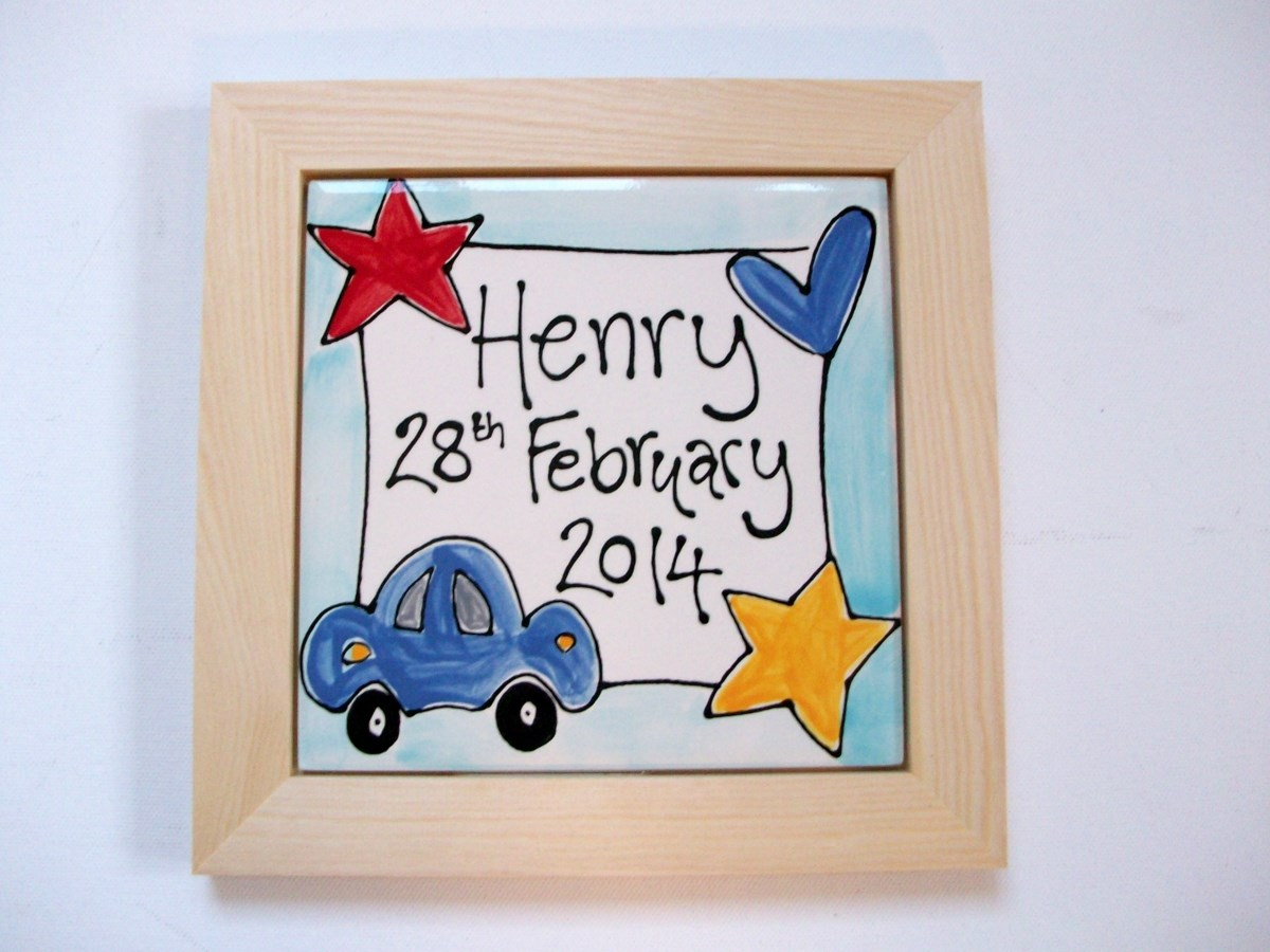 Personalised Framed Christening or Birthday Plaque