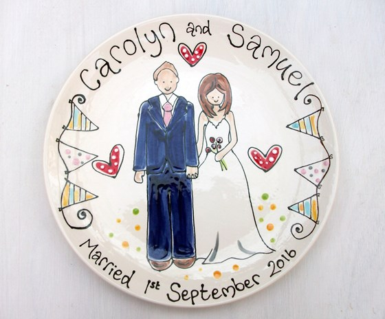 Personalised Wedding Plate with Portrait of the Bride and Groom
