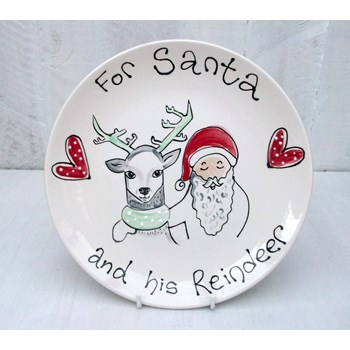 For Santa and His Reindeer Ceramic Plate