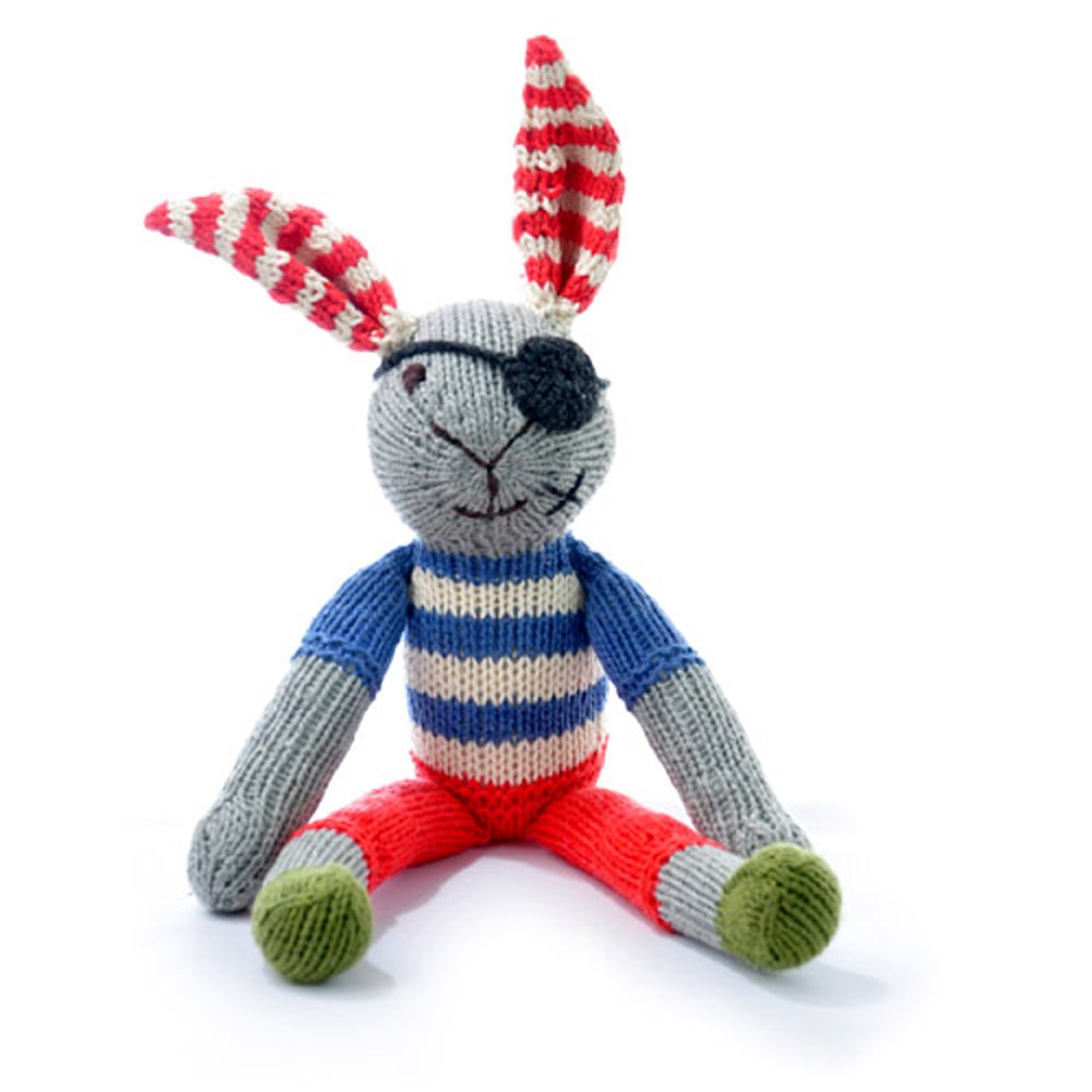 Hand knitted Organic Cotton Rabbit Soft Toy