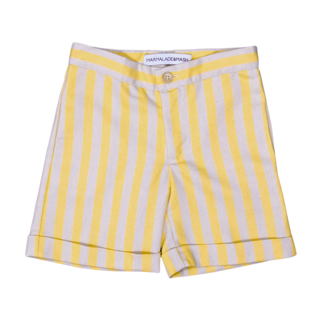 STRIPED BOYS SHORTS IN YELLOW