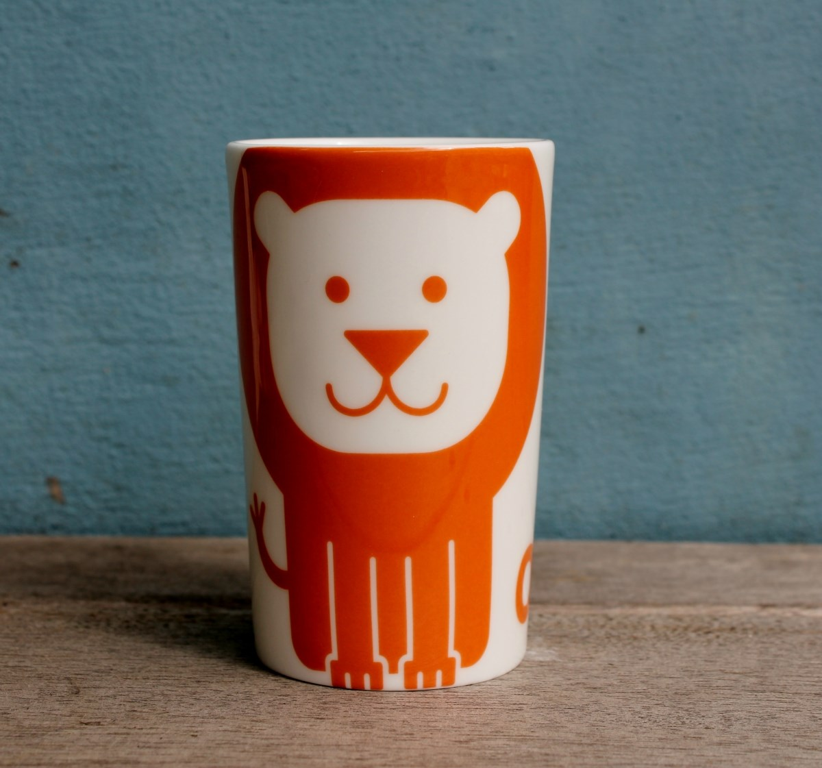 Orange Lion China Beaker