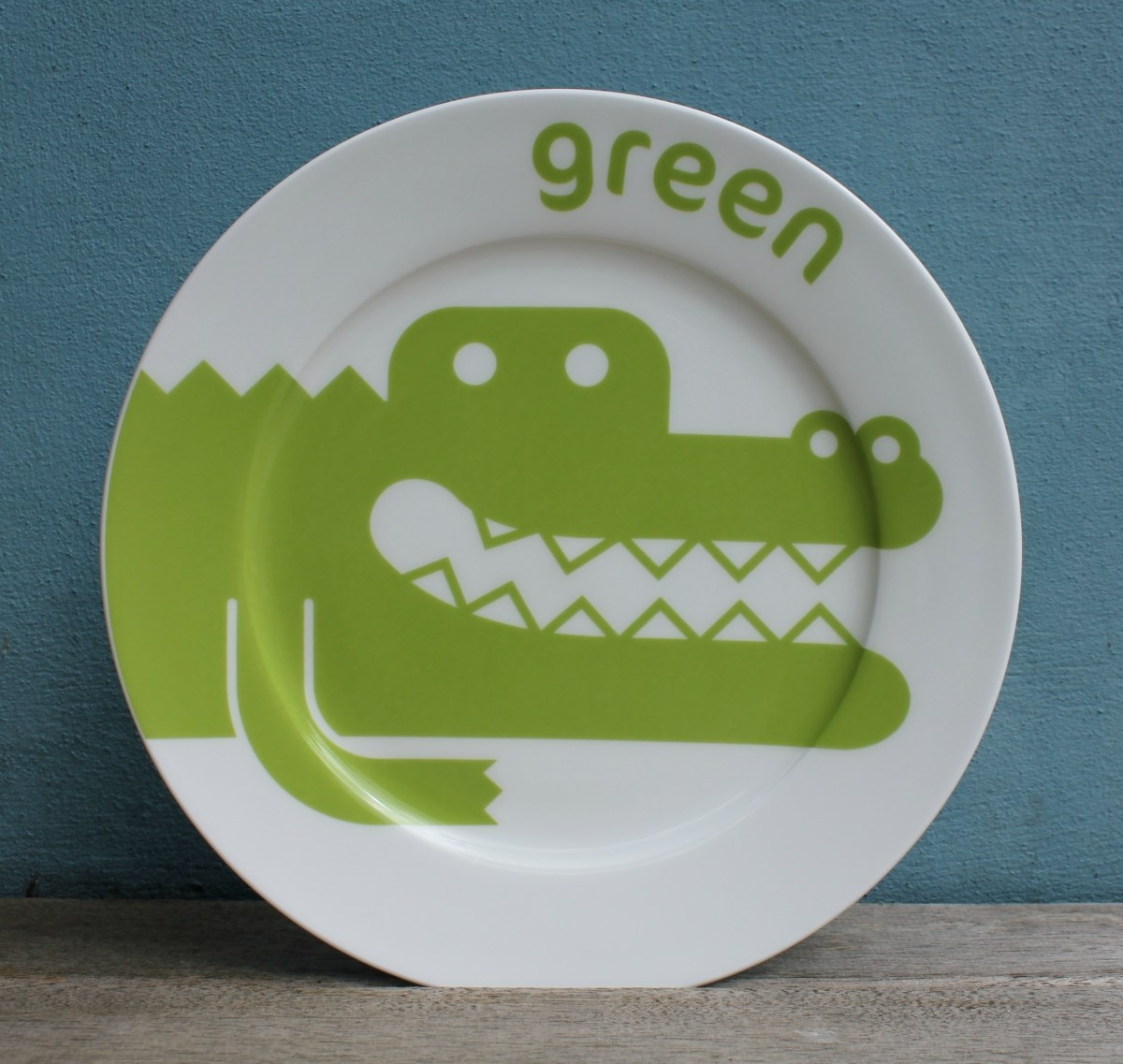 Green Crocodile China Plate