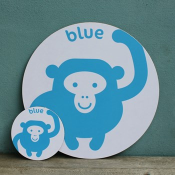 Blue Monkey Placemat and Coaster Set