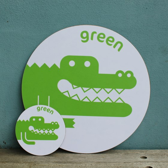 Green Crocodile Placemat and Coaster Set