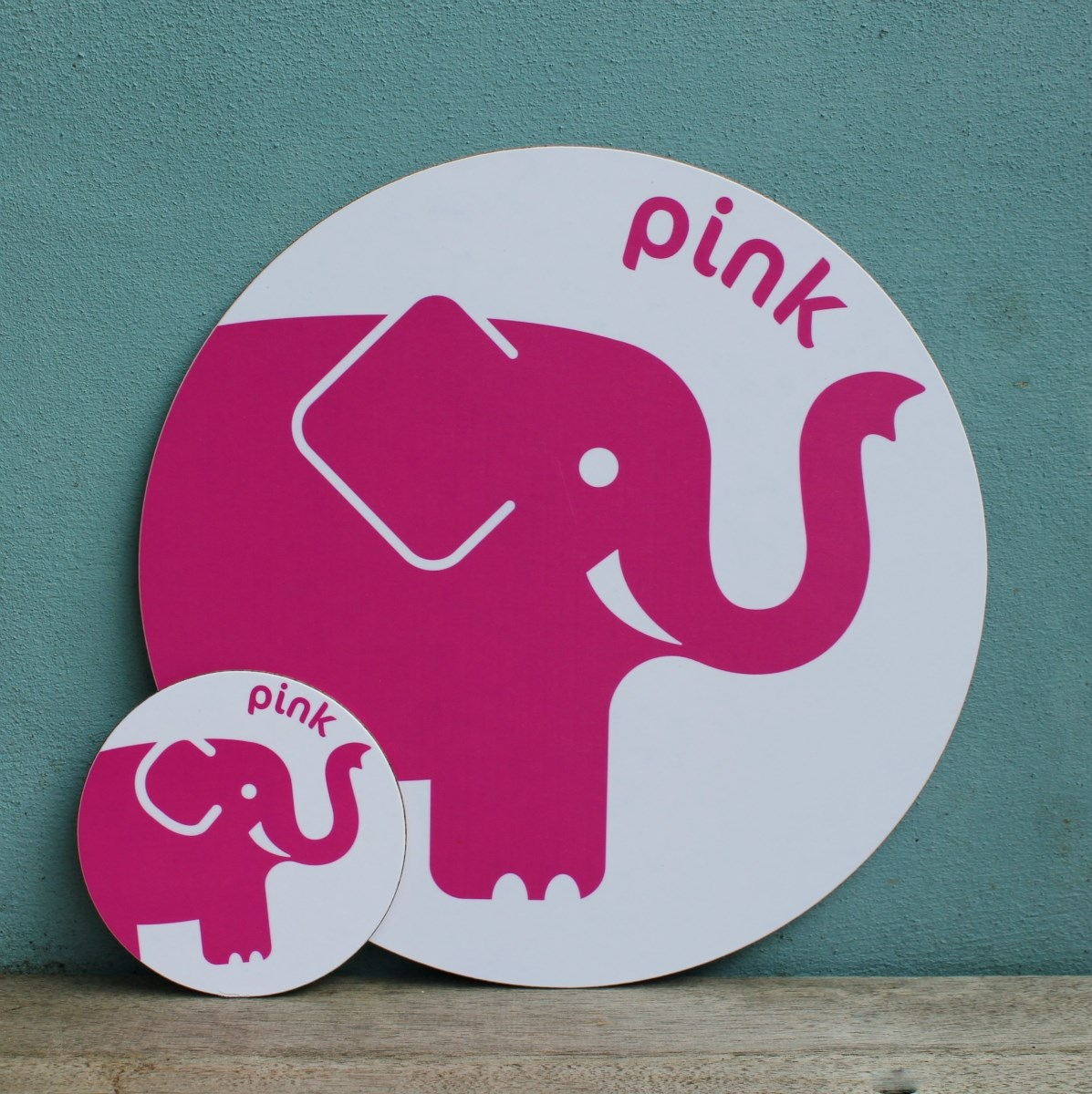 Pink Elephant Placemat and Coaster Set