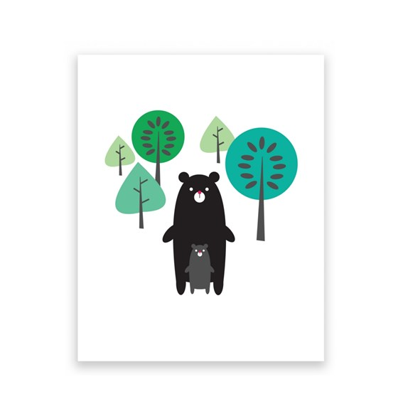Black Bears in Forest 8 x 10 Art Print/Wall Art
