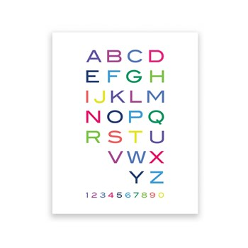 Alphabet & Numbers 8 x 10 Art Print/Wall Art
