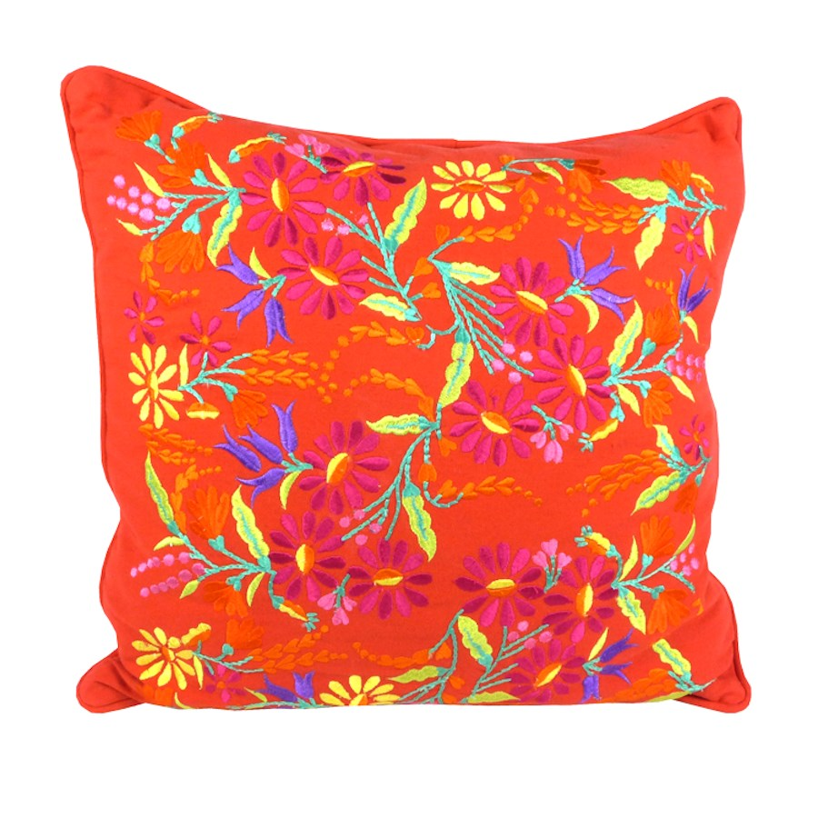 Red floral embroidered cushion