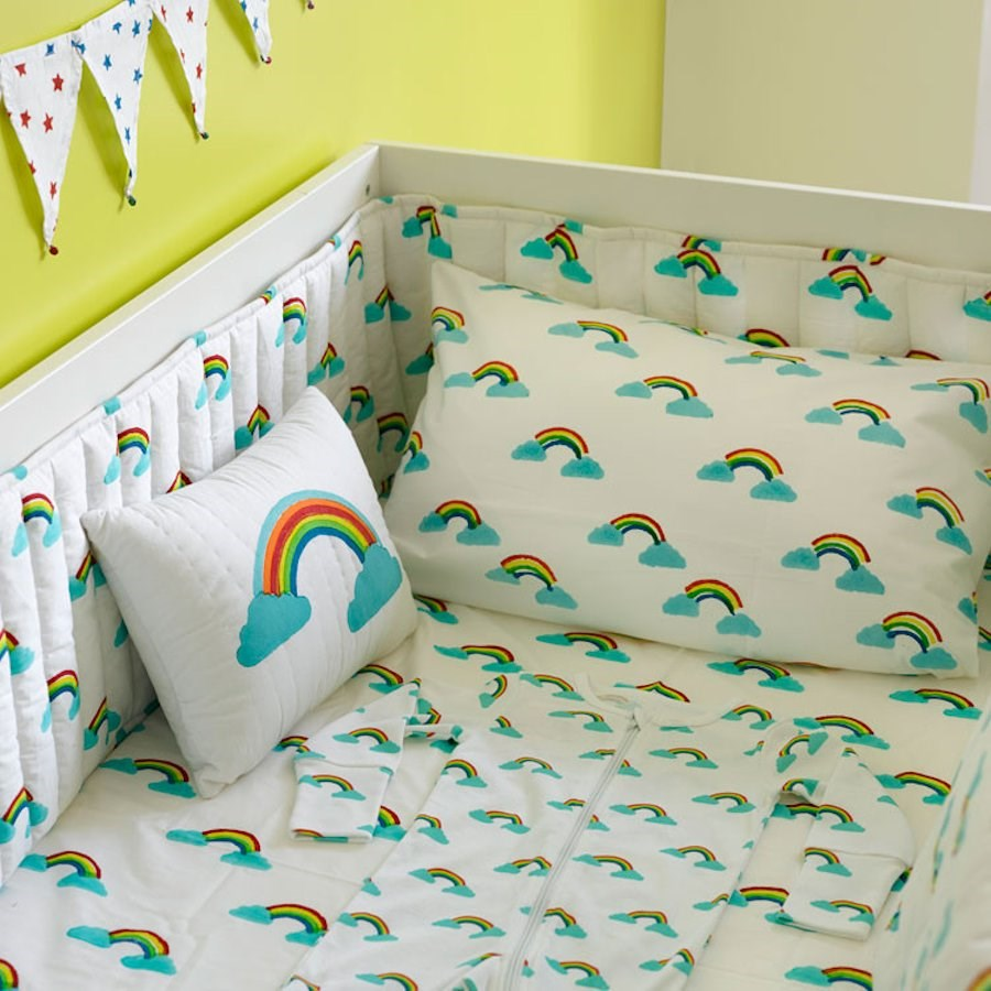 Rainbow cot bed fitted sheet