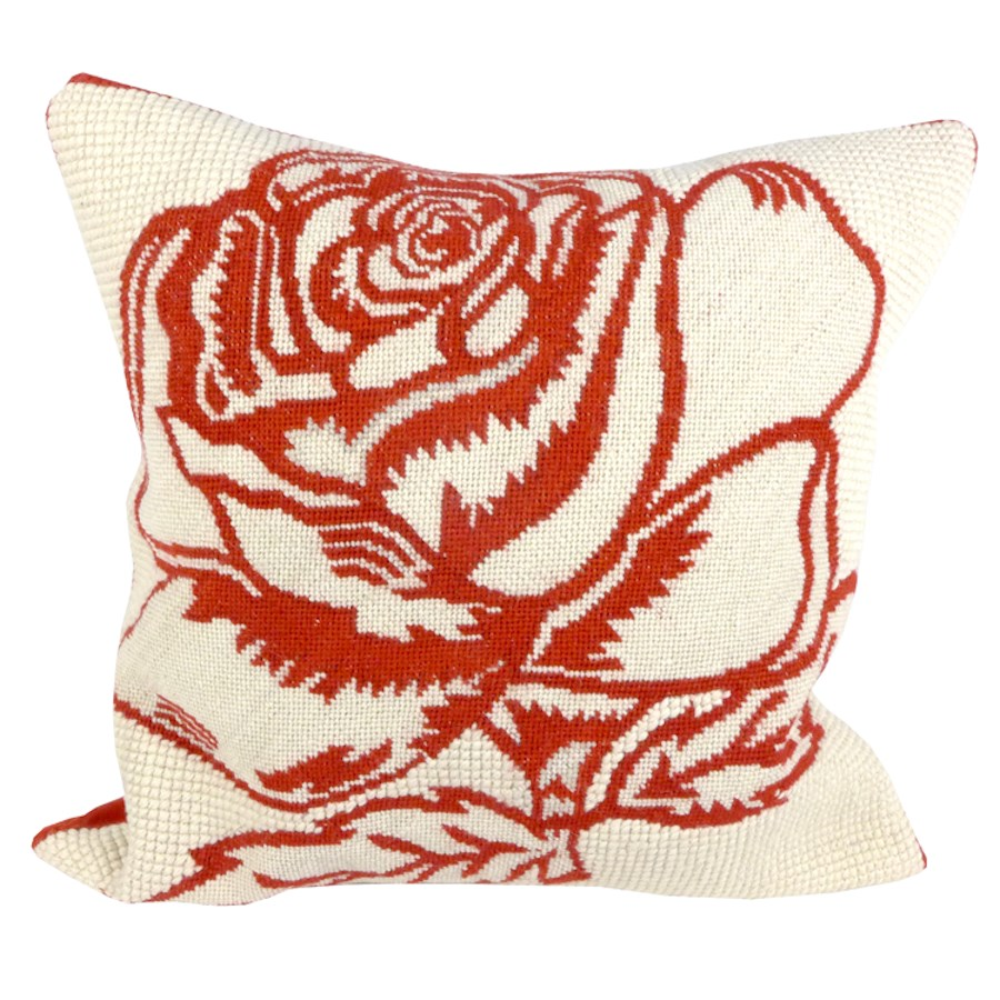Red rose tapestry cushion