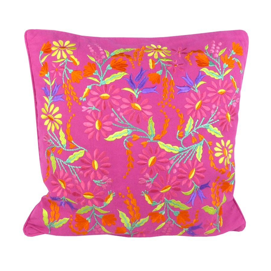 Pink floral embroidered cushion