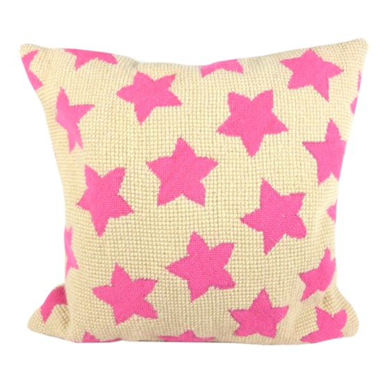 Pink star tapestry cushion