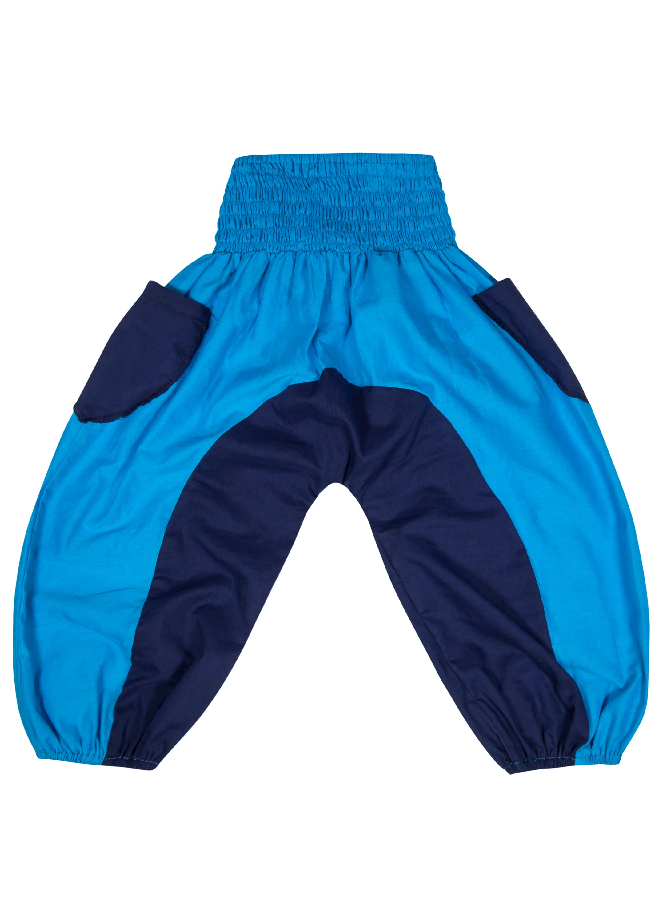 Colourblock Cotton Pantaloon Pants Turquoise