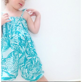 All in One Cotton Romper in Leaves Print